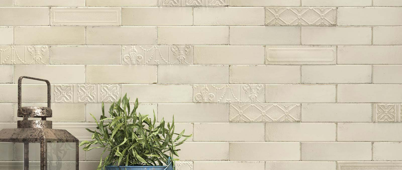 Brickwork-effect wall tiles