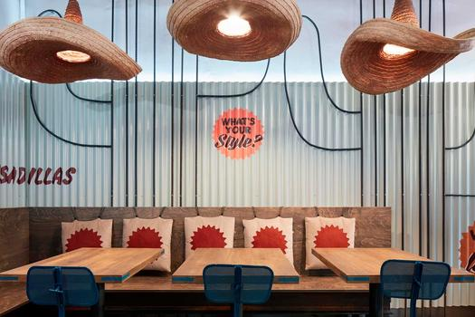 Burrito Loco: a Mexican mood, sombreros and concrete-effect porcelain stoneware in Prague