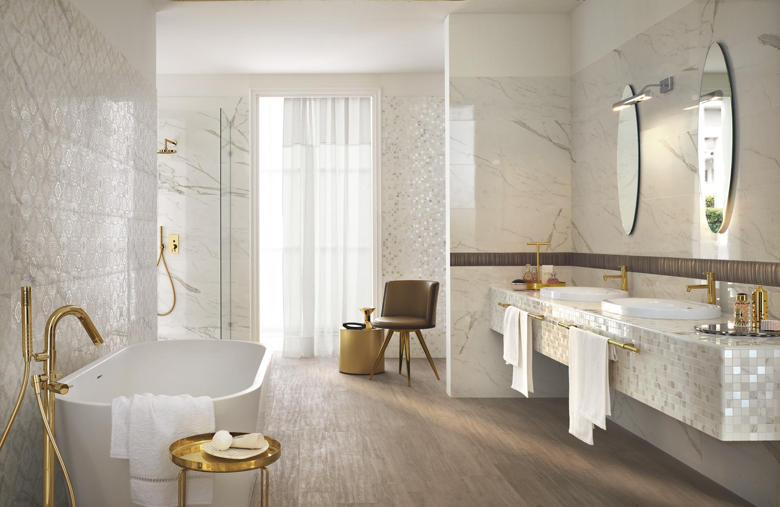 Daylight collection marble effect bathroom tiles ragno for Percer un carrelage en gres