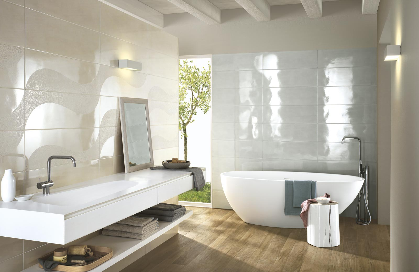 Handmade collection gloss effect bathroom walls ragno for Couleur salle de bain tendance