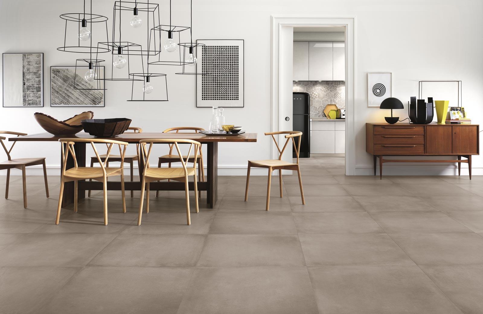 Rewind collection concrete effect porcelain stoneware ragno for Carrelage 75x75