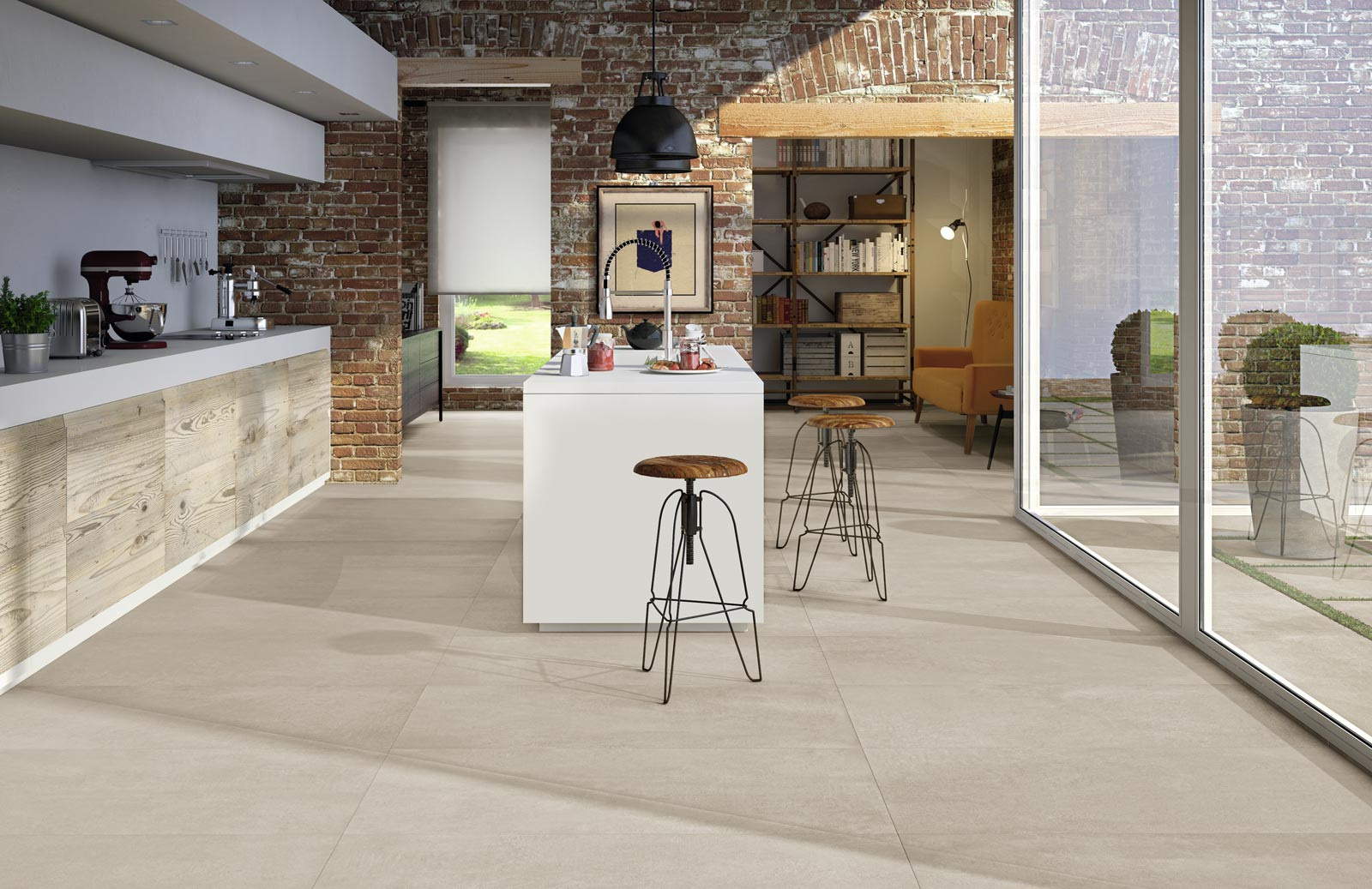 Rewind collection concrete effect porcelain stoneware ragno for Carrelage 45x45